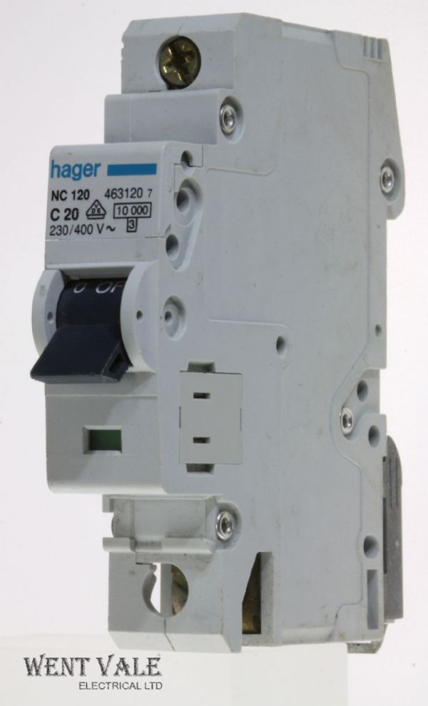 Hager NC120 - 20a Type C Single Pole MCB Used